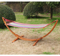 Hammock Bed Cot Wood Frame Stand Yard Patio Garden New