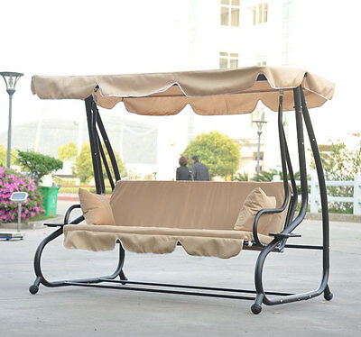 Outsunny Metal Frame Outdoor Porch Patio Canopy Swing Bench Convertible Bed  on Rummage