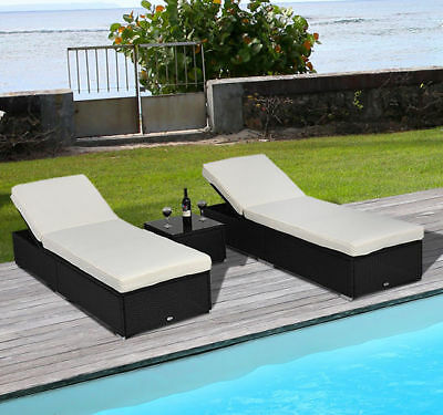 Garden Furniture - 3PC Rattan Wicker Chaise Lounge Chair Set Outdoor Patio Garden Furniture Pool