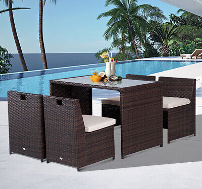 5pcs Rattan Wicker  Dining Table Chairs Set Cushioned Patio Garden Furniture
