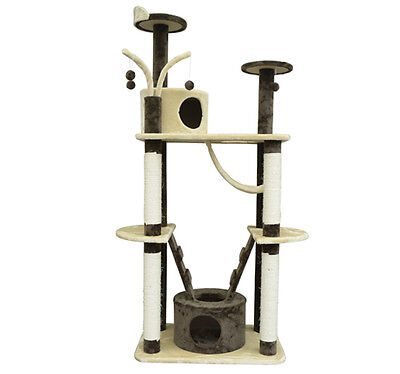 Pawhut 71'' Cat Tree Condo Furniture Scratch Post Pet House - Cream / Coffee on Rummage