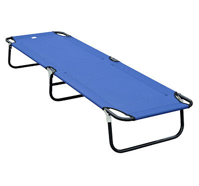 Outsunny Portable Folding Military-style Outdoor Camping Camp Cot Bed - Blue on Rummage