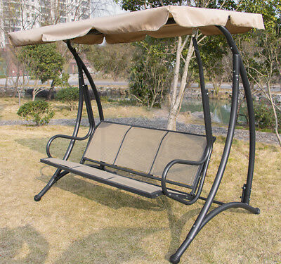 Swing Canopy Outdoor 3 person Lounge Chair Patio Backyard Seat Beach Furniture
