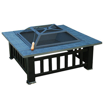 "Outsunny 32"" Square Outdoor Backyard Patio Metal Firepit - Deck Fire Pit Bowl on Rummage"