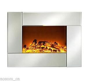 HomCom-26-039-039-Electric-Fireplace-Heater-Warm-Wall-Mounted-w-Remote-Control-Silver