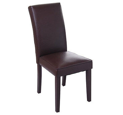 Homcom modern brown pu leather contemporary parson dining room seat dinner chair ebay - Leather parsons dining room chairs ...