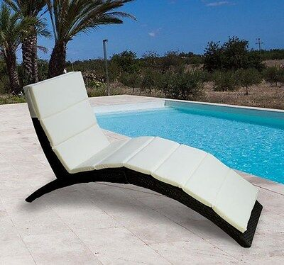 Outdoor Folding Curved Rattan Wicker Chaise Lounge Chair Patio Deck Pool Couch