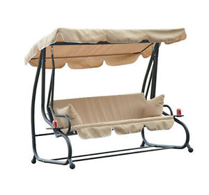 outdoor patio metal frame porch swing bench canopy convertible bed ebay. Black Bedroom Furniture Sets. Home Design Ideas