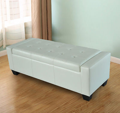 Faux Leather Storage Seat (Homcom Modern Faux Leather Ottoman Footrest Sofa Shoe Storage Bench Seat - White )