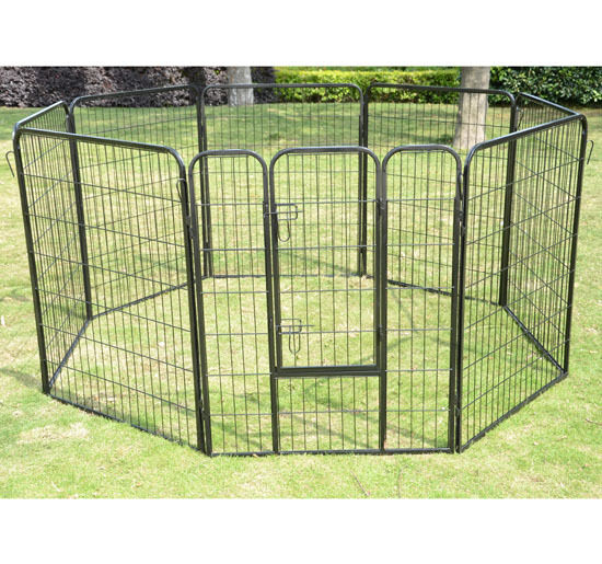 Portable Aluminum Fencing : Pawhut quot panel heavy duty pet dog portable exercise