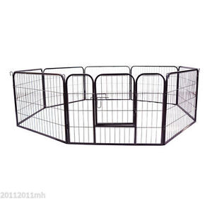 "24"" Dog Puppy Playpen 8 Panel Pet Pen Cat Outdoor Exercise Fence"