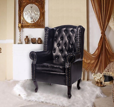 Leather High Back Chair Queen Style Armchair Seat Cushion Backrest