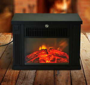 Portable Electric Fireplace Free Standing Tabletop Heater 1000W LED Fire  Flame