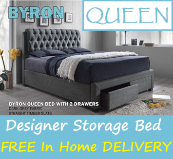 FREE In Home DELIVERY - Queen Size Upholstered Bed with Drawers
