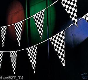 RACING Nascar Daytona Race Car Black & White CHECKERED Pennant FLAG BANNER 100ft