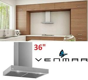 "NEW* VENMAR 36"" KITCHEN RANGE HOOD - 116016702 - Chimney Range Hood – Brushed Grey CONTROL PANEL STAINLESS STEEL"