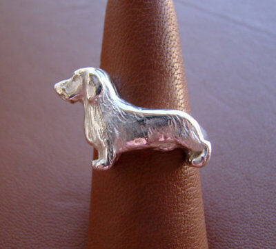 Large Sterling Silver Wire-haired Dachshund Standing Study Ring