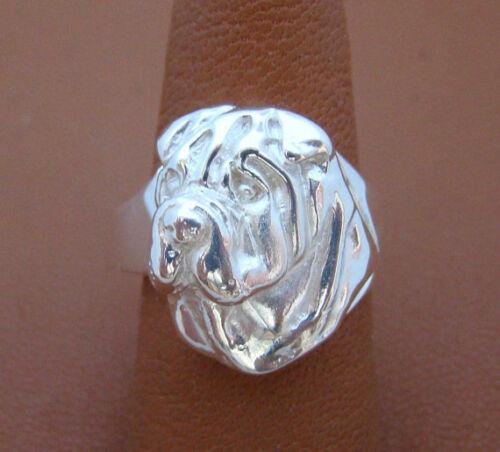 Sterling Silver Shar Pei Head Study Ring