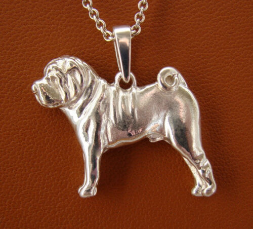Small Sterling Silver Shar Pei Standing Study Pendant