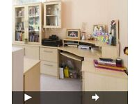 Desk and cupboards