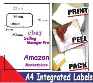 1000 X A4 INTEGRATED LABELS - Ebay AMAZON  Invoice paper - Next Day Delivery S11