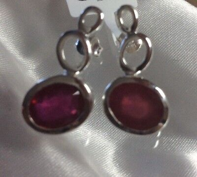 5.5 Ct, African, Ruby Drop Earrings In Rhodium Plated Sterling Silver