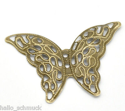 Bronze 4 (HS 50 Bronze Schmetterling Filigran Verbinder 4.1x2.9cm)