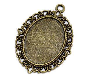 Wholesale Lots DIY Jewelry Cameo Settings Bronze Tone Oval Frame 39x29mm