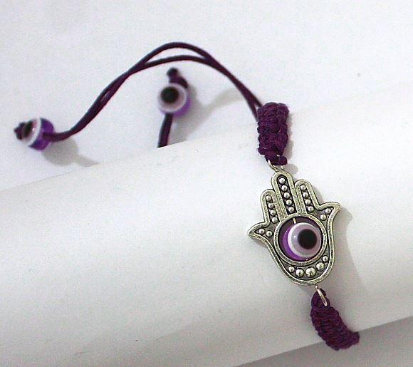 1 Sacred Hamsa Hand Purple String Revolving Lucky Evil Eye Spiritual Bracelets