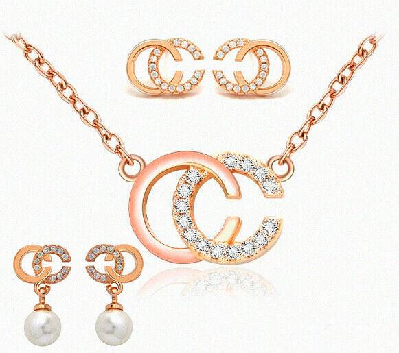 Jewellery - 925 Sterling Silver C Word Pendant Chain Necklace Stud Earrings Womens Jewellery