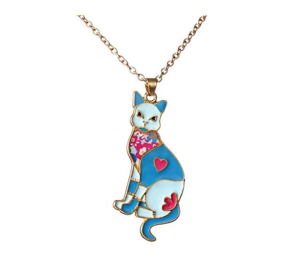 Jewellery - Cat Necklace Pendant Chain Cat Lover Gift Enamel Gold Rainbow Jewellery New UK