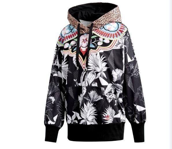 Adidas Originals Hoody Womens Jacket Floral Cheetah Large Multi Color CW1378