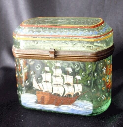 Enameled Glass Ormolu Mounted Dresser Box Tall Ship 1725