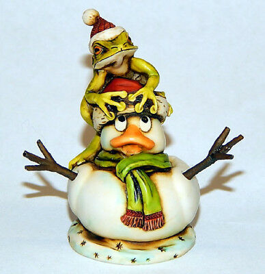 Harmony Kingdom Art Neil Eyre Designs Christmas Rubber Duck snowman tree frog le
