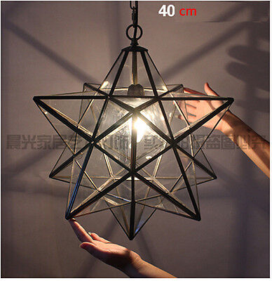 Moravian Star Crystal Glass Ceiling Pendant Light Iron Chandeliers 4 Sizes Lamps