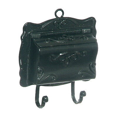 City Mail Box/Mailbox w/Paper Rack Dollhouse Miniature Black Metal 1:12 Scale