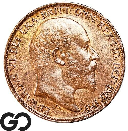 1902 HH, Farthing, 1D King Edward VII, Great Britain, British Penny