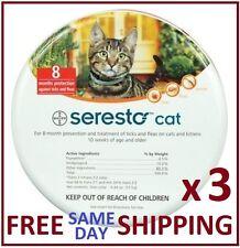 3 x Seresto Flea & Tick Collar For Cats