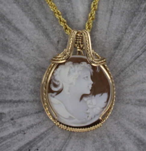Vintage Hand Carved Cameo Pendant in 14kt rolled gold wire Wire Wrapped