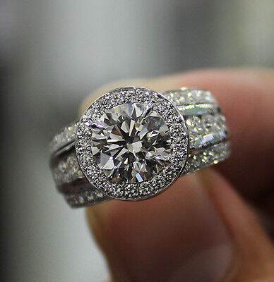 3.40 Ct. Natural Round Cut Halo 3-Row Pave Diamond Engagement Ring - GIA Cert