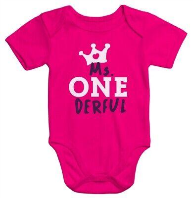 Kurzarm Baby-Body Ms Onederful Geburtstag 1 Jahr Geschenk Bio-Baumwolle