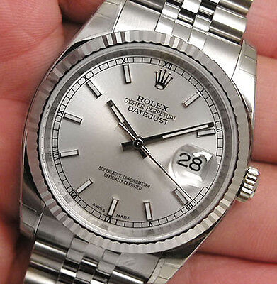 Rolex DATEJUST 116234 Mens Steel & White Gold Jubilee Silver Index Dial 36MM