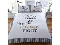 Mr and Mrs Always Right duvet set