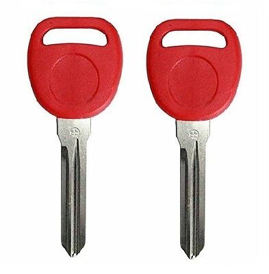 2 RED New Replacement Transponder Ignition Key Uncut Blade Blank Car Key Chipped