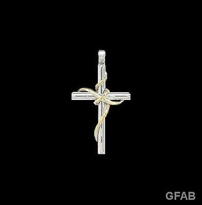 New .925 Sterling Silver and Gold Women's Cross Necklace + 18 Inch .925 Chain