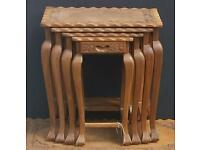 Carved wood Chinese nest of tables