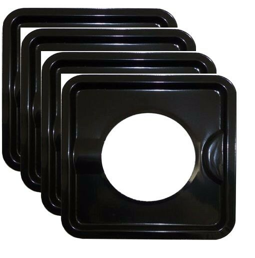 4x HEAVY DUTY BLACK STEEL SQUARE REUSABLE DRIP PAN GAS BURNER BIB LINER COVERS !