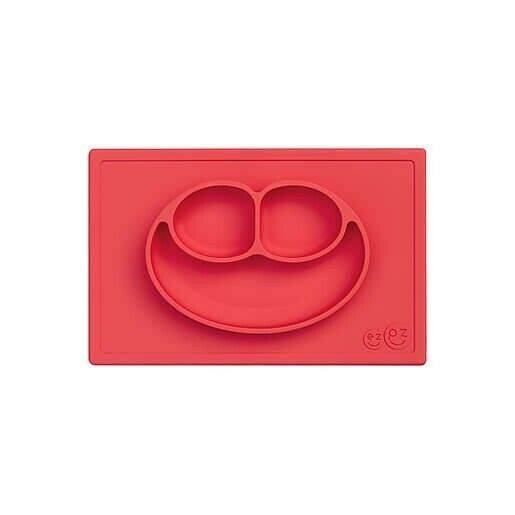 EZPZ Happy Mat - One-piece Silicone Toddler Baby Plate/Mat - Red - Preowned