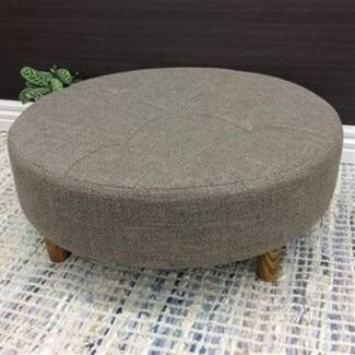 New Ottoman Stool Coffee Table Round Fabric Brown 90cm
