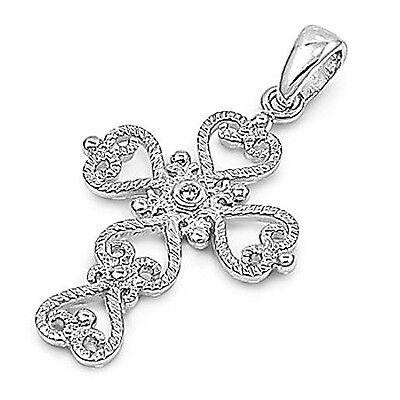 Cubic Zirconia Ornate Heart Cross Pendant Sterling Silver - Ornate Heart Cross
